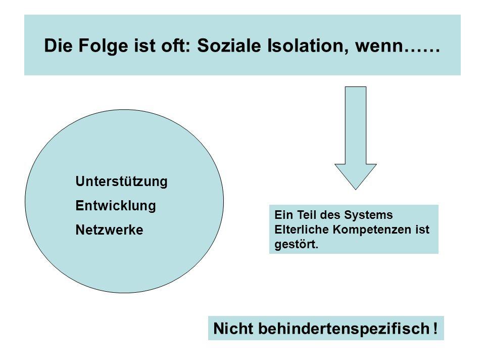 Die Folge ist oft: Soziale Isolation, wenn…… Unterstützung Entwicklung Netzwerke Ein Teil des Systems Elterliche Kompetenzen ist gestört. Nicht behind