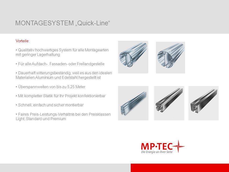 MONTAGESYSTEM Quick-Line Vorteile: Qualitativ hochwertiges System für alle Montagearten mit geringer Lagerhaltung Für alle Aufdach-, Fassaden- oder Fr