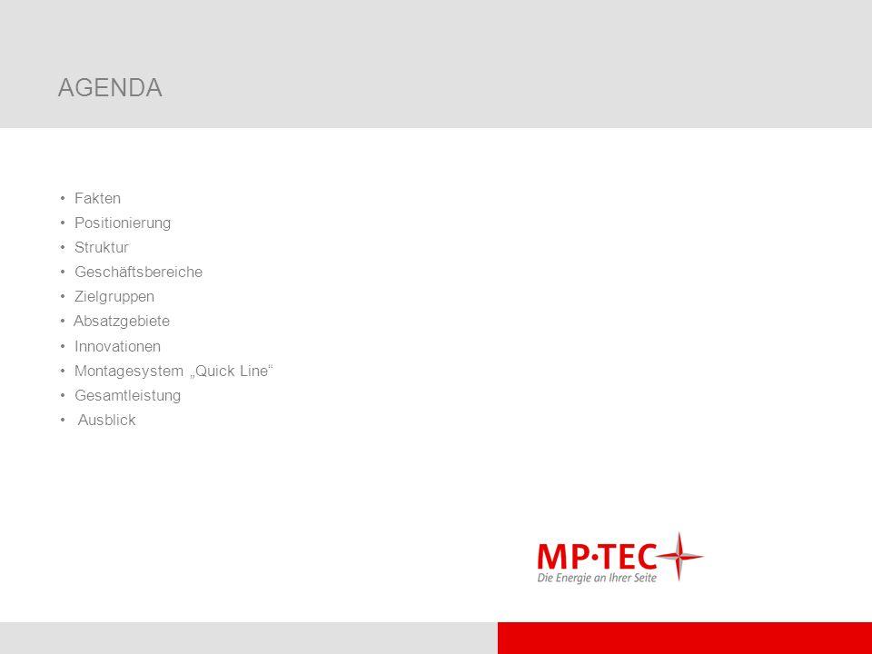 AGENDA Fakten Positionierung Struktur Geschäftsbereiche Zielgruppen Absatzgebiete Innovationen Montagesystem Quick Line Gesamtleistung Ausblick