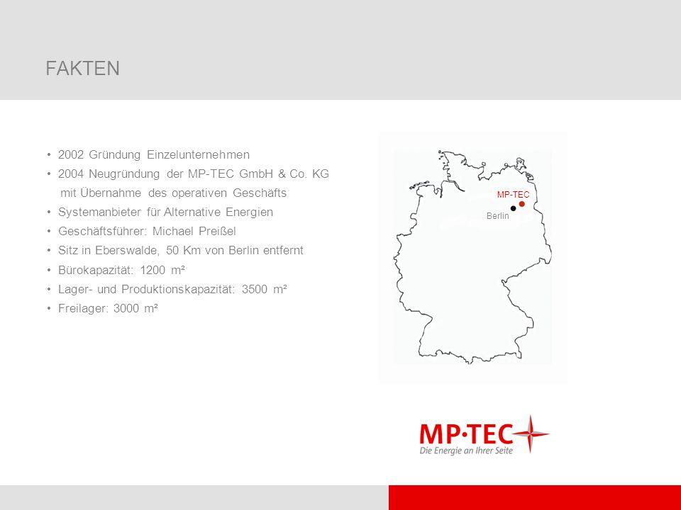 FAKTEN 2002 Gründung Einzelunternehmen 2004 Neugründung der MP-TEC GmbH & Co. KG mit Übernahme des operativen Geschäfts Systemanbieter für Alternative