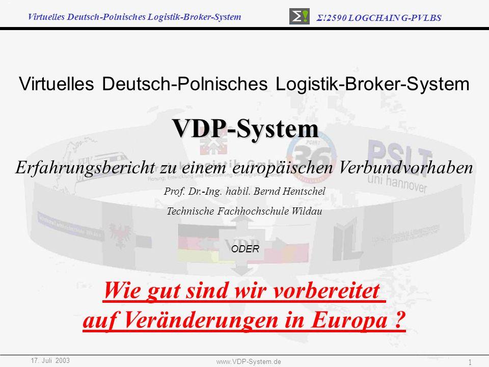 Virtuelles Deutsch-Polnisches Logistik-Broker-System Σ!2590 LOGCHAIN G-PVLBS 17. Juli 2003 www.VDP-System.de 1 Virtuelles Deutsch-Polnisches Logistik-