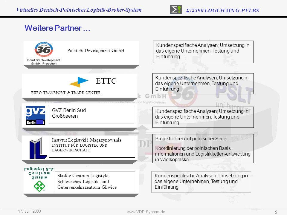 Virtuelles Deutsch-Polnisches Logistik-Broker-System Σ!2590 LOGCHAIN G-PVLBS 17. Juli 2003 www.VDP-System.de 6 Point 36 Development GmbH Kundenspezifi