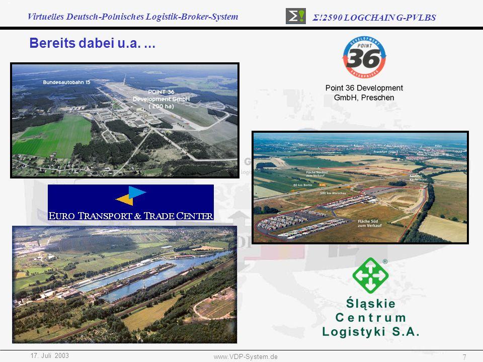 Virtuelles Deutsch-Polnisches Logistik-Broker-System Σ!2590 LOGCHAIN G-PVLBS 17. Juli 2003 www.VDP-System.de 7 Bereits dabei u.a....