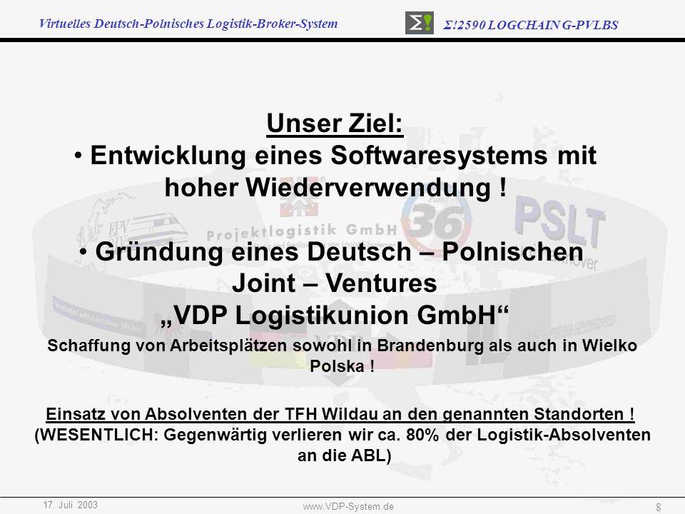 Virtuelles Deutsch-Polnisches Logistik-Broker-System Σ!2590 LOGCHAIN G-PVLBS 17. Juli 2003 www.VDP-System.de 8 Unser Ziel: Entwicklung eines Softwares
