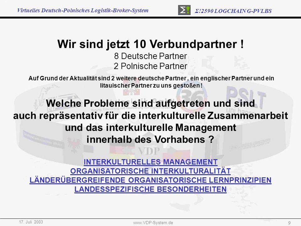 Virtuelles Deutsch-Polnisches Logistik-Broker-System Σ!2590 LOGCHAIN G-PVLBS 17. Juli 2003 www.VDP-System.de 9 Wir sind jetzt 10 Verbundpartner ! 8 De