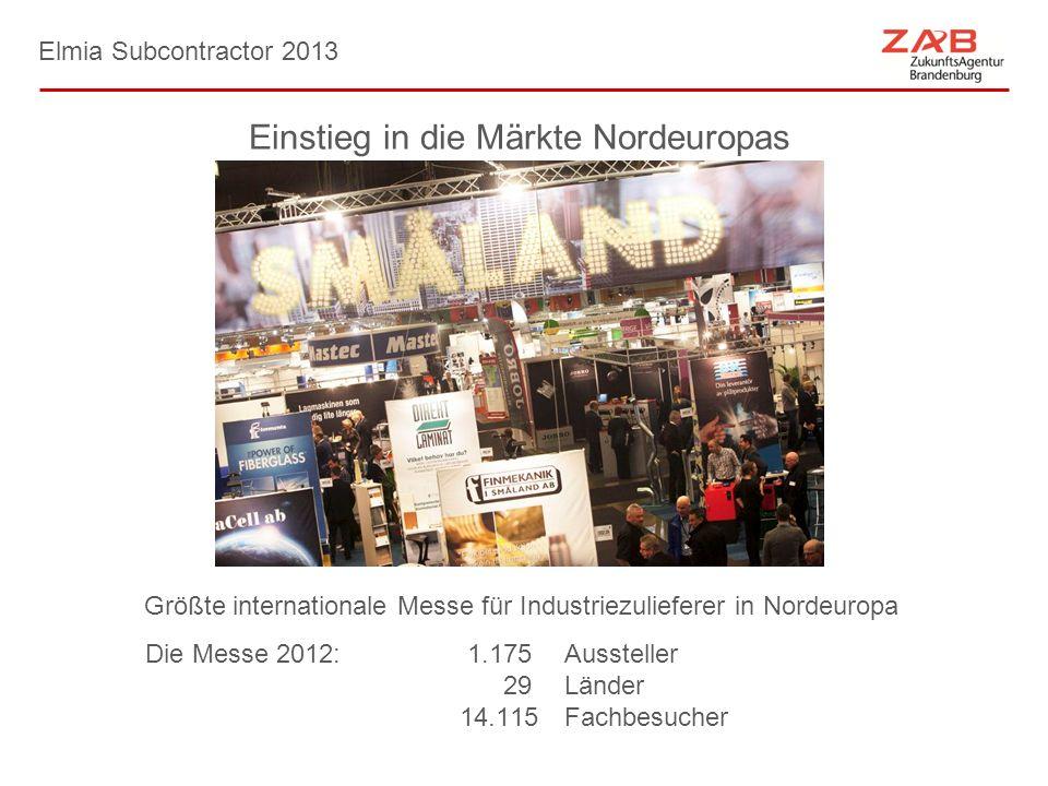 Elmia Subcontractor 2013 Einstieg in die Märkte Nordeuropas Größte internationale Messe für Industriezulieferer in Nordeuropa Die Messe 2012: 1.175Aus