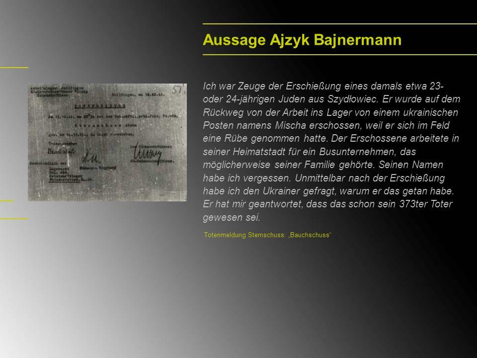 Aussage Ajzyk Bajnermann Ich war Zeuge der Erschießung eines damals etwa 23- oder 24-jährigen Juden aus Szydłowiec.