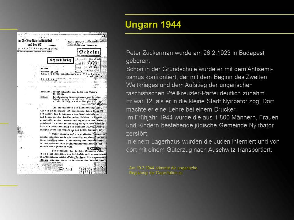 Ungarn 1944 Peter Zuckerman wurde am 26.2.1923 in Budapest geboren. Schon in der Grundschule wurde er mit dem Antisemi- tismus konfrontiert, der mit d
