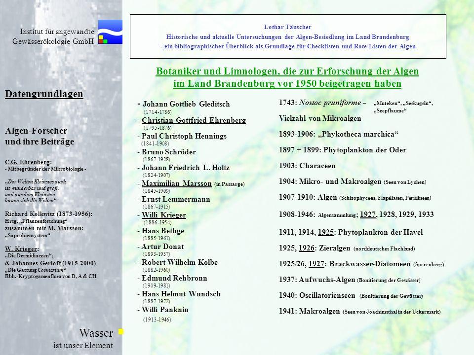 Institut für angewandte Gewässerökologie GmbH Wasser ist unser Element Lothar Täuscher Historische und aktuelle Untersuchungen der Algen-Besiedlung im