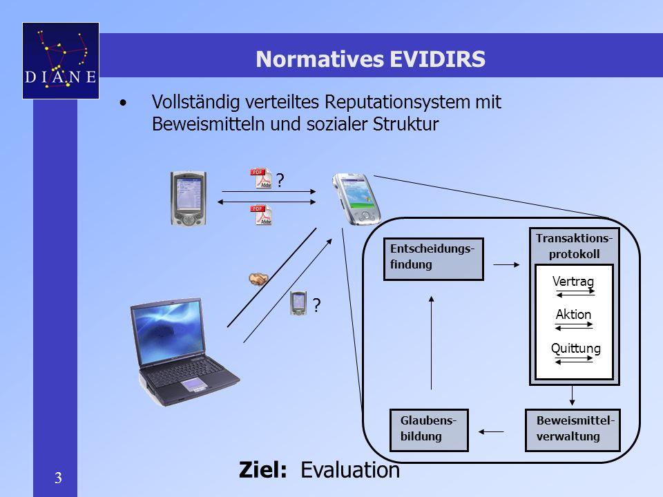 3 Normatives EVIDIRS Vollständig verteiltes Reputationsystem mit Beweismitteln und sozialer Struktur .