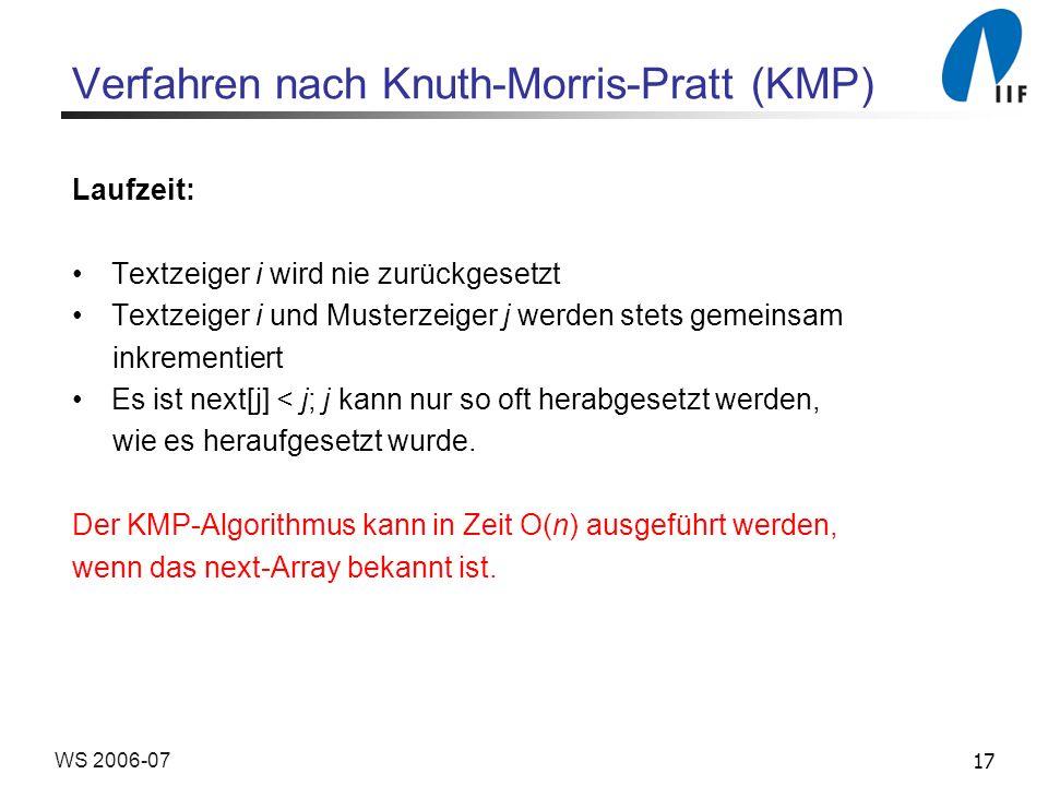 17WS 2006-07 Verfahren nach Knuth-Morris-Pratt (KMP) Laufzeit: Textzeiger i wird nie zurückgesetzt Textzeiger i und Musterzeiger j werden stets gemein