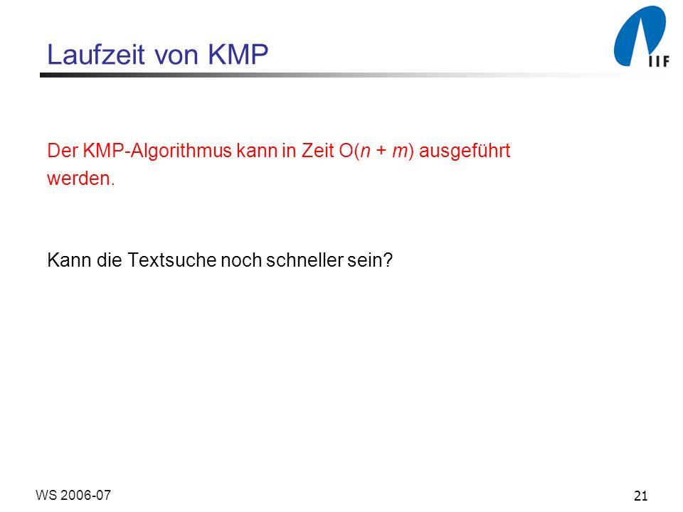 21WS 2006-07 Laufzeit von KMP Der KMP-Algorithmus kann in Zeit O(n + m) ausgeführt werden.