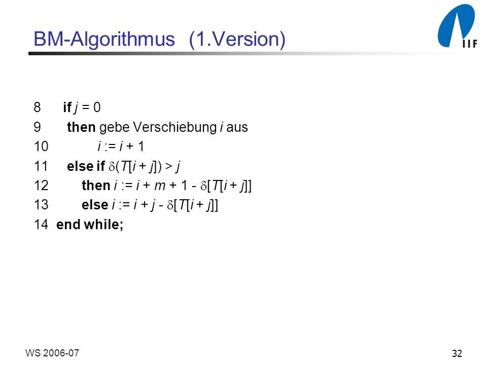 32WS 2006-07 BM-Algorithmus (1.Version) 8 if j = 0 9 then gebe Verschiebung i aus 10 i := i + 1 11 else if (T[i + j]) > j 12 then i := i + m + 1 - [T[i + j]] 13 else i := i + j - [T[i + j]] 14 end while;