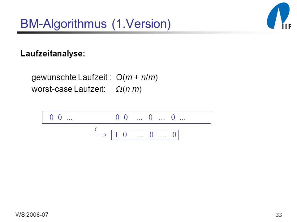 33WS 2006-07 BM-Algorithmus (1.Version) Laufzeitanalyse: gewünschte Laufzeit : O(m + n/m) worst-case Laufzeit: (n m) i 0 0...