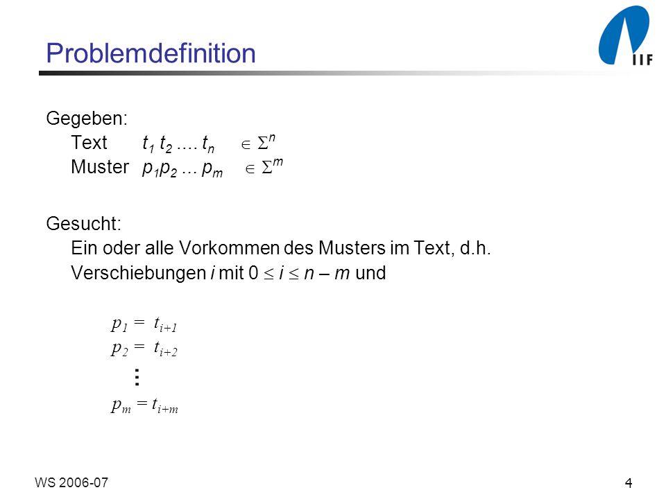4WS 2006-07 Problemdefinition Gegeben: Text t 1 t 2.... t n n Muster p 1 p 2... p m m Gesucht: Ein oder alle Vorkommen des Musters im Text, d.h. Versc