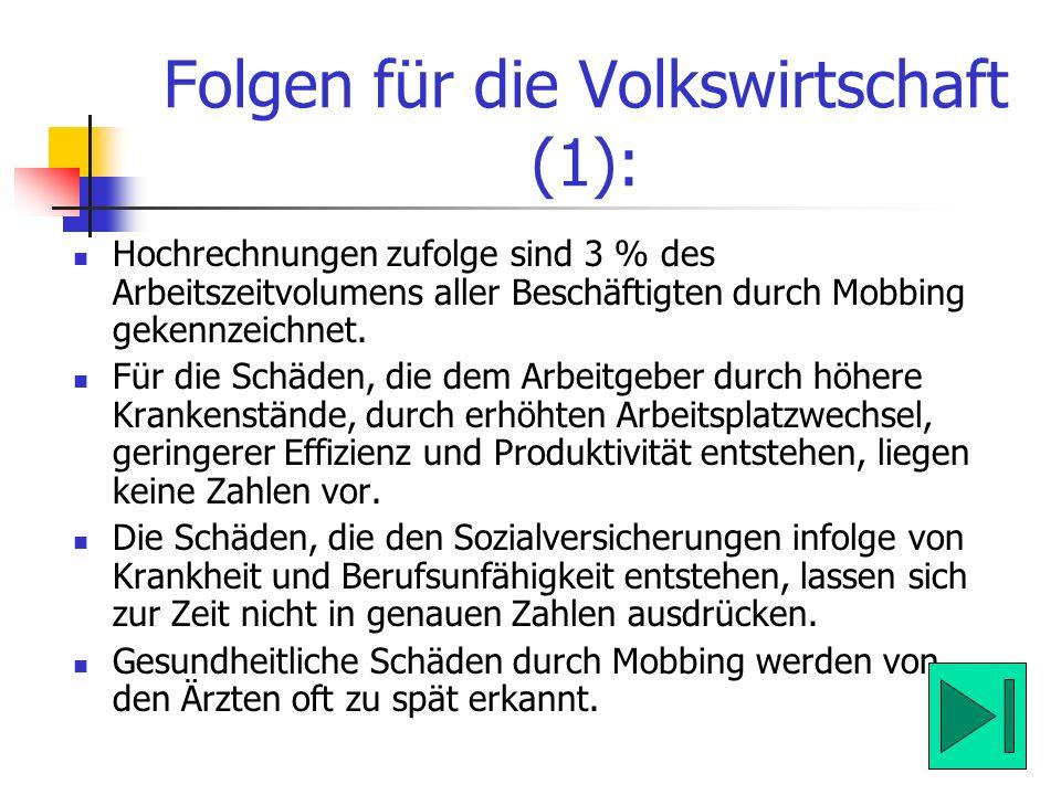 Folgen für die Volkswirtschaft (1): Hochrechnungen zufolge sind 3 % des Arbeitszeitvolumens aller Beschäftigten durch Mobbing gekennzeichnet. Für die