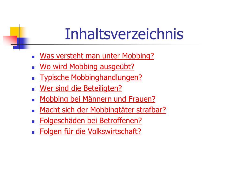 Inhaltsverzeichnis Was versteht man unter Mobbing? Wo wird Mobbing ausgeübt? Typische Mobbinghandlungen? Wer sind die Beteiligten? Mobbing bei Männern