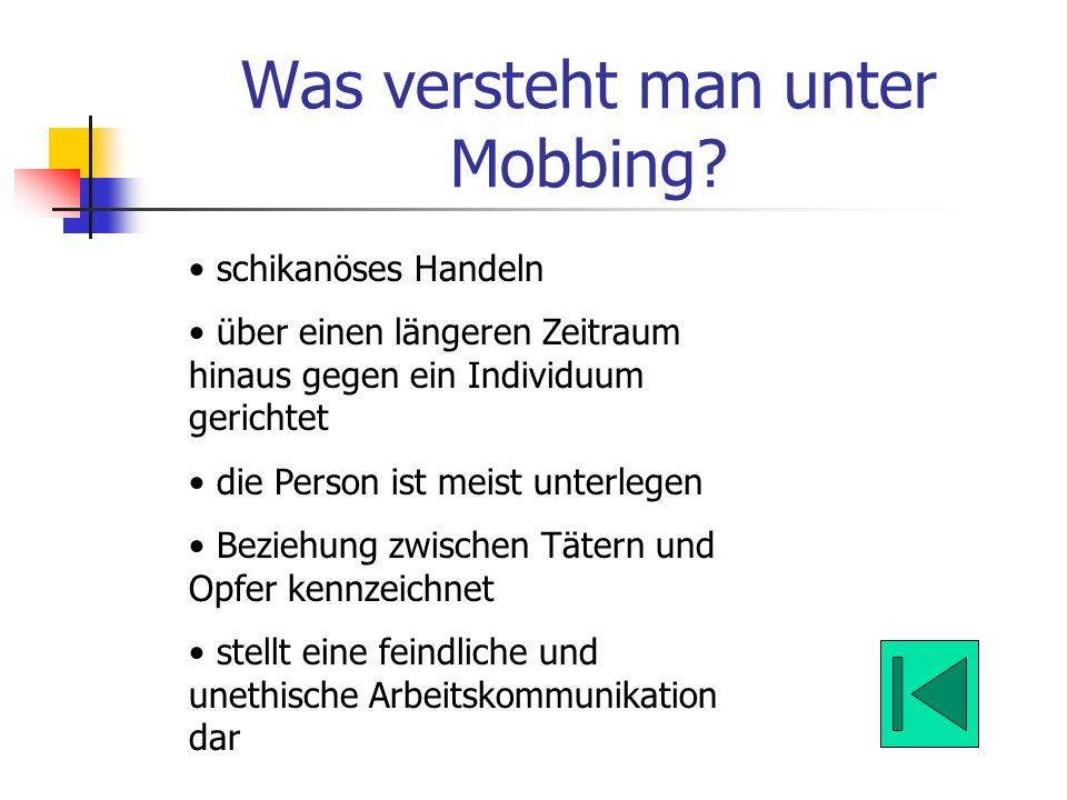 Was versteht man unter Mobbing? schikanöses Handeln über einen längeren Zeitraum hinaus gegen ein Individuum gerichtet die Person ist meist unterlegen