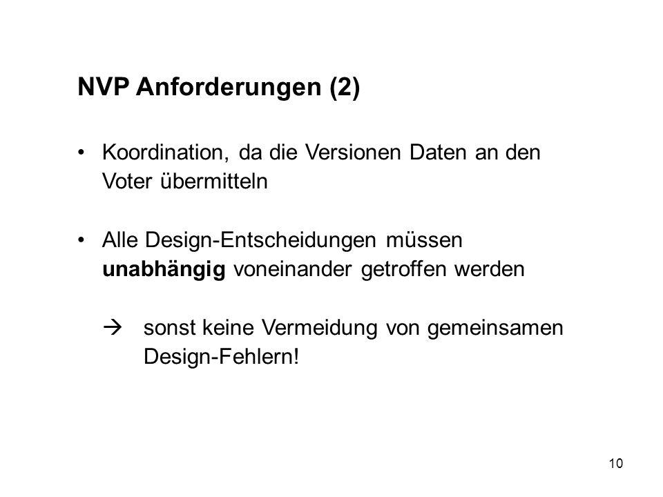 10 NVP Anforderungen (2) Koordination, da die Versionen Daten an den Voter übermitteln Alle Design-Entscheidungen müssen unabhängig voneinander getrof