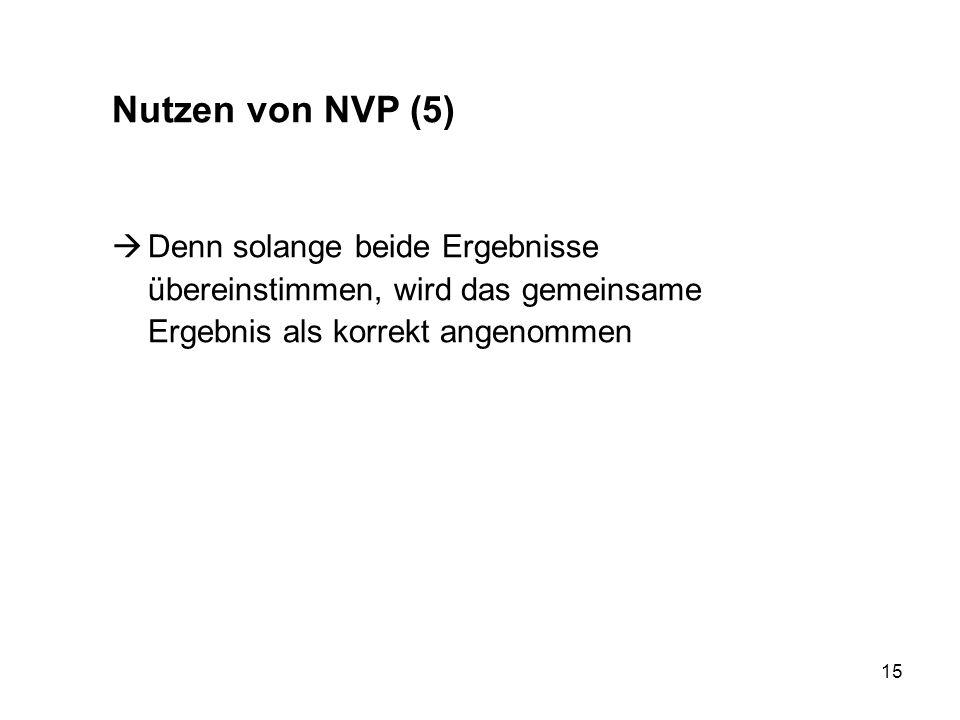 15 Nutzen von NVP (5) Denn solange beide Ergebnisse übereinstimmen, wird das gemeinsame Ergebnis als korrekt angenommen
