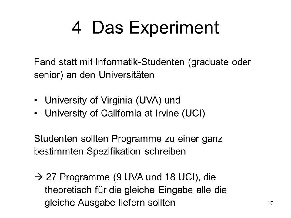 16 4 Das Experiment Fand statt mit Informatik-Studenten (graduate oder senior) an den Universitäten University of Virginia (UVA) und University of Cal