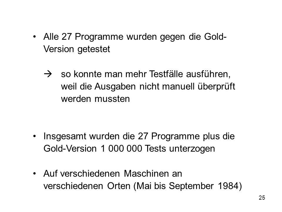 25 Alle 27 Programme wurden gegen die Gold- Version getestet so konnte man mehr Testfälle ausführen, weil die Ausgaben nicht manuell überprüft werden