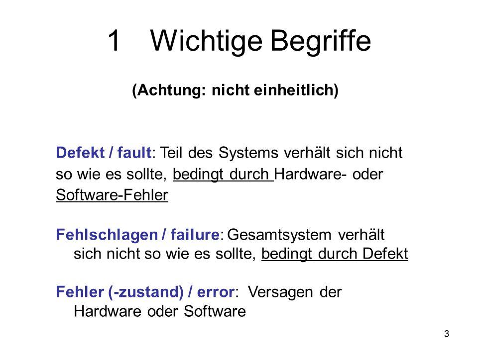 3 1Wichtige Begriffe (Achtung: nicht einheitlich) Defekt / fault: Teil des Systems verhält sich nicht so wie es sollte, bedingt durch Hardware- oder S