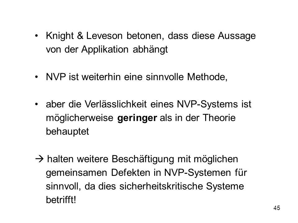 45 Knight & Leveson betonen, dass diese Aussage von der Applikation abhängt NVP ist weiterhin eine sinnvolle Methode, aber die Verlässlichkeit eines N