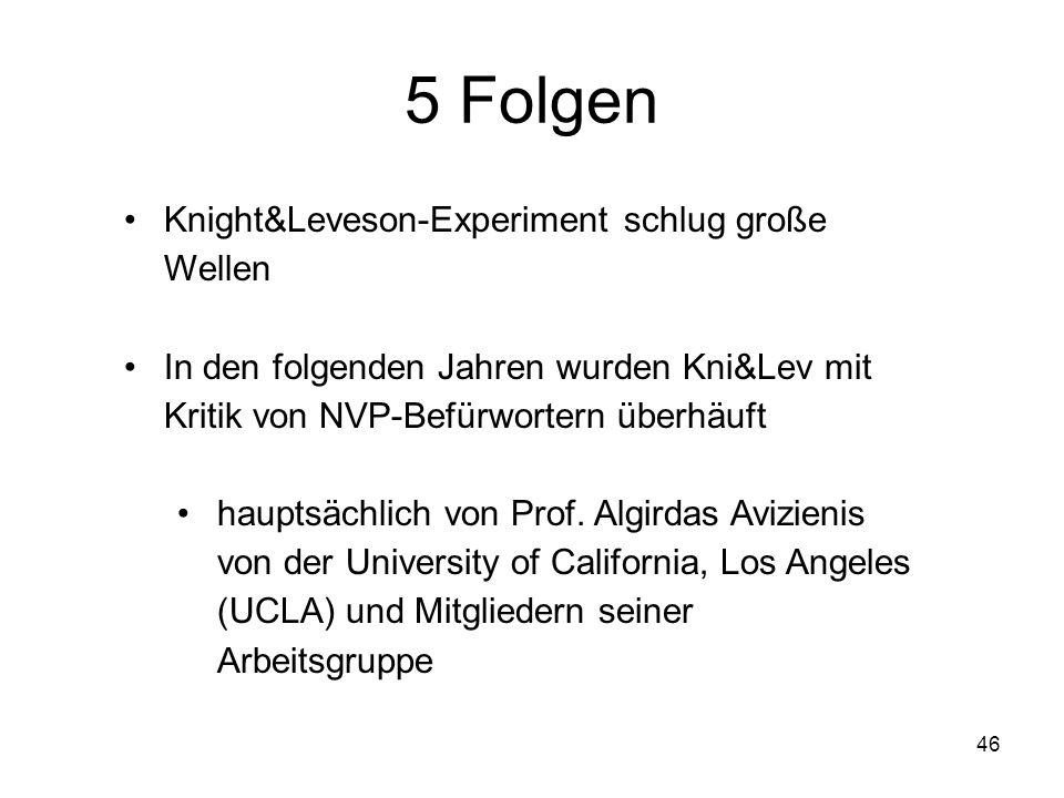 46 5 Folgen Knight&Leveson-Experiment schlug große Wellen In den folgenden Jahren wurden Kni&Lev mit Kritik von NVP-Befürwortern überhäuft hauptsächli