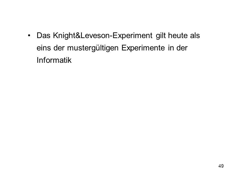 49 Das Knight&Leveson-Experiment gilt heute als eins der mustergültigen Experimente in der Informatik