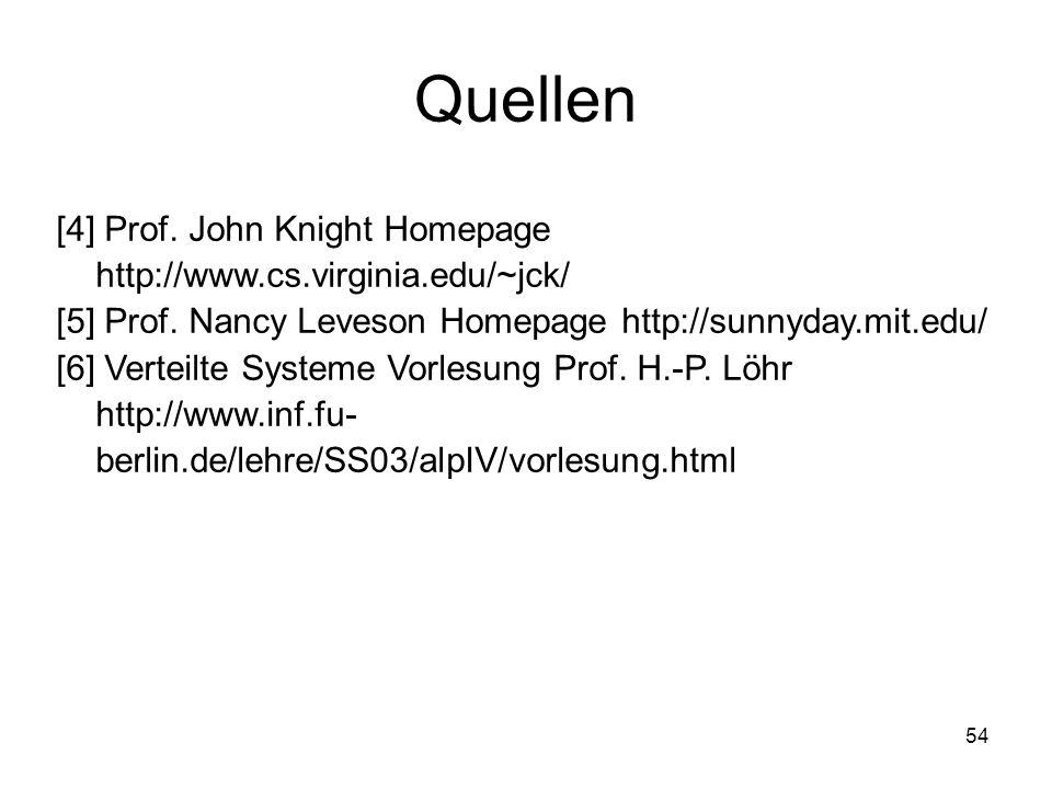 54 Quellen [4] Prof. John Knight Homepage http://www.cs.virginia.edu/~jck/ [5] Prof. Nancy Leveson Homepage http://sunnyday.mit.edu/ [6] Verteilte Sys