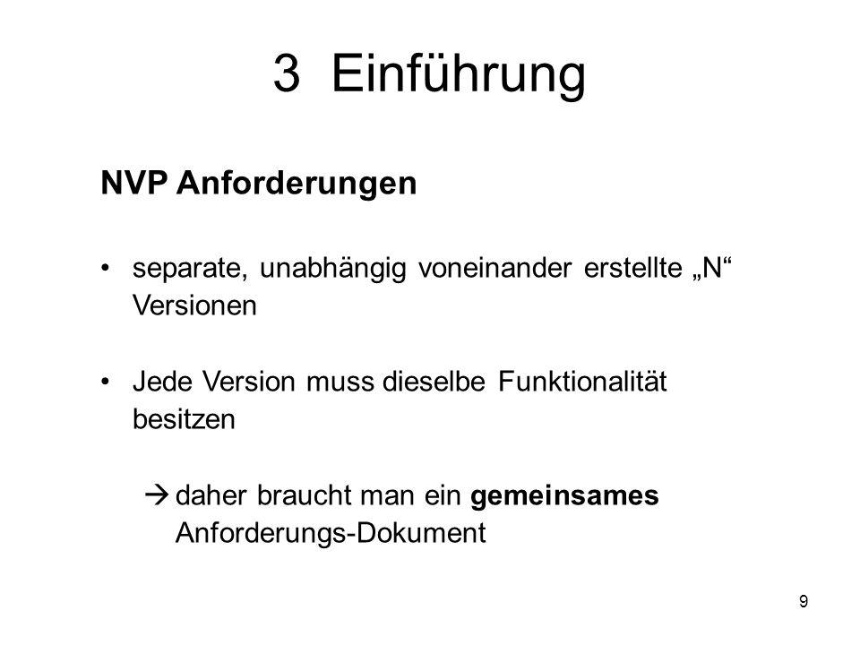 9 NVP Anforderungen separate, unabhängig voneinander erstellte N Versionen Jede Version muss dieselbe Funktionalität besitzen daher braucht man ein ge