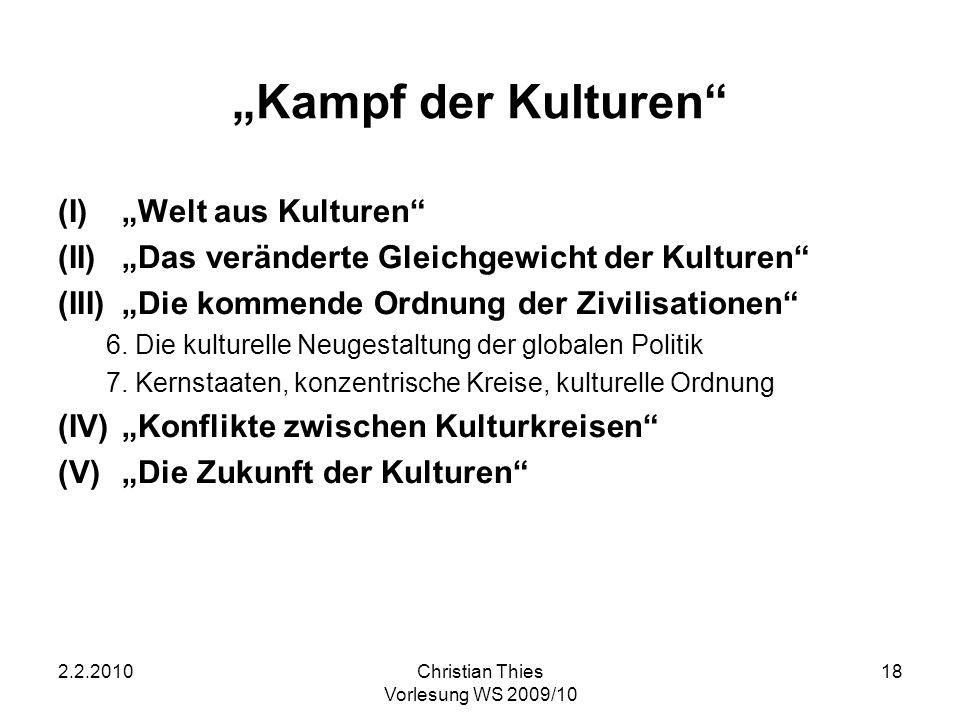 2.2.2010Christian Thies Vorlesung WS 2009/10 18 Kampf der Kulturen (I)Welt aus Kulturen (II)Das veränderte Gleichgewicht der Kulturen (III)Die kommend