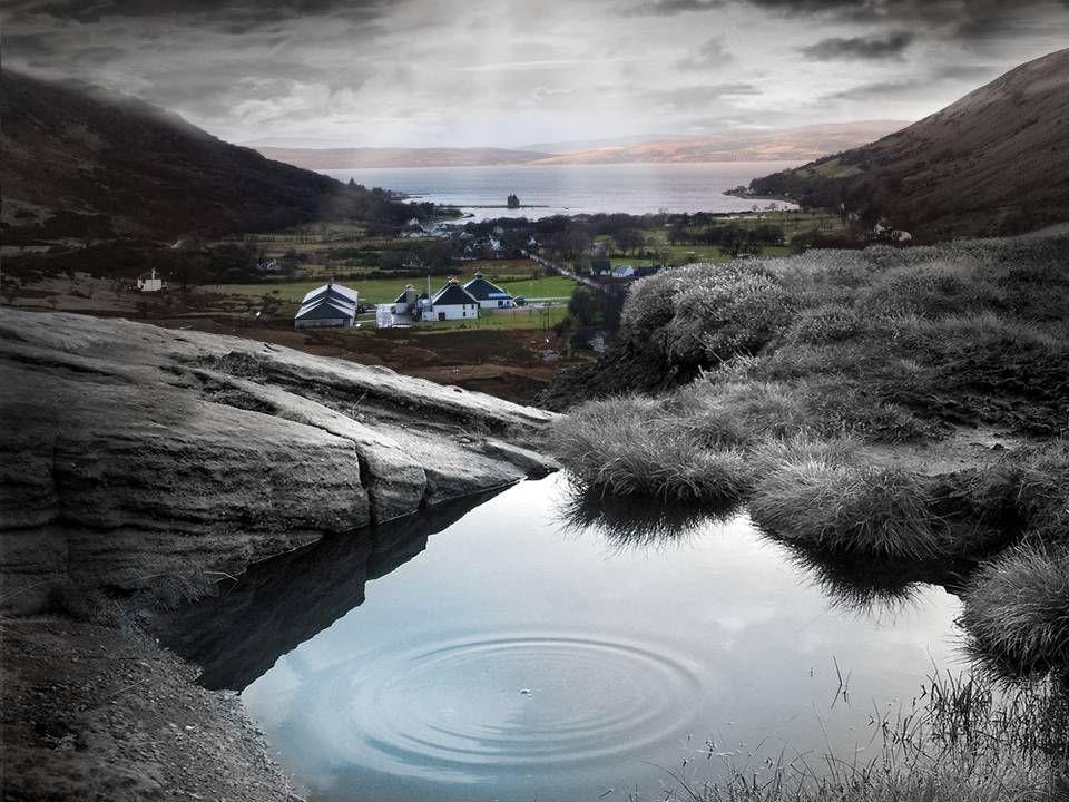 The Isle of Arran An der Südwest-Küste von Schottland, in Lochranza Isle of Arran Schottland als Miniatur