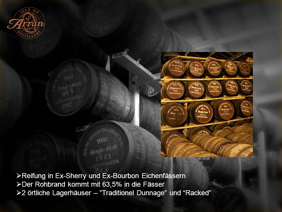 Whiskyautor Jim Murray bewertet Arran sehr hoch Arran 10 Year Old ist mit 93/100 in der Whisky Bible bewertet Arran Amarone Finish ist mit 96/100 bewertet und 2008 Best Whisky under 12 yo