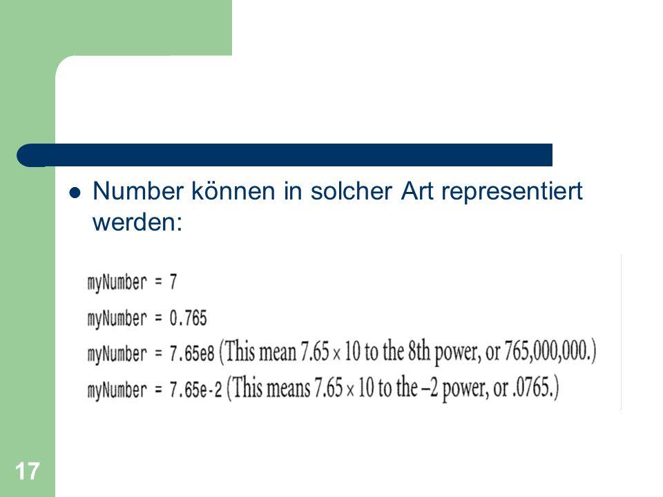 17 Number können in solcher Art representiert werden: