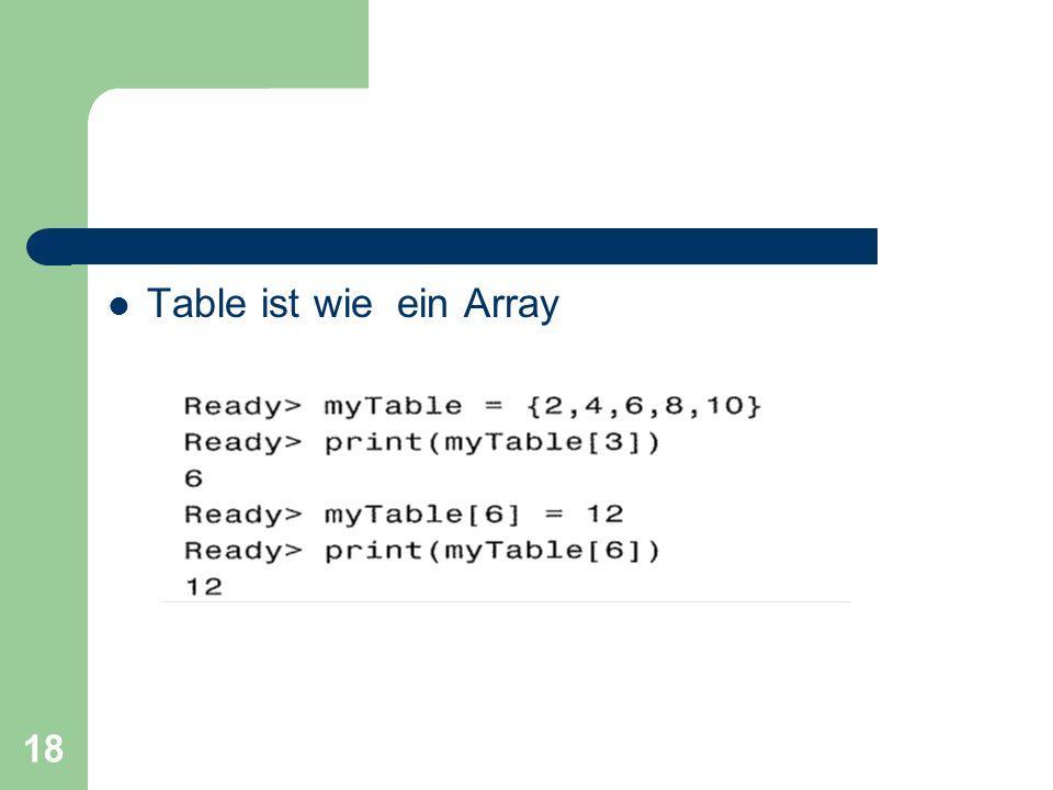 18 Table ist wie ein Array