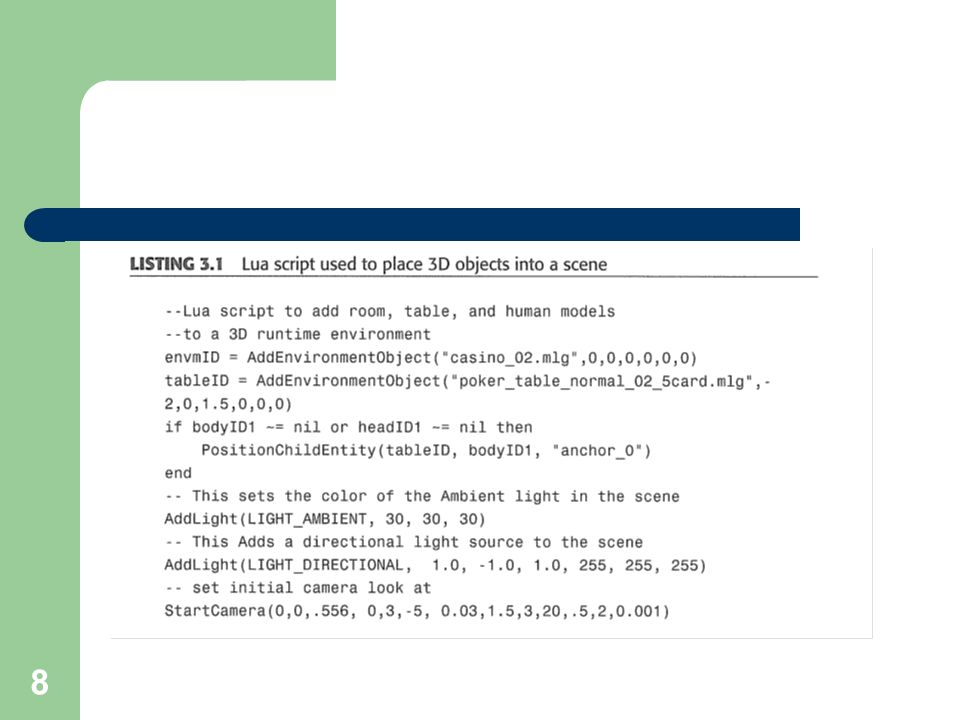 29 Bildet komplexere Strings von kleineren %s steht für string, %d für Zahlen String.find(sourceString, findString) sucht in dem sourcestring nach dem findstring und gibt die start und endposition an Strings und Modelle