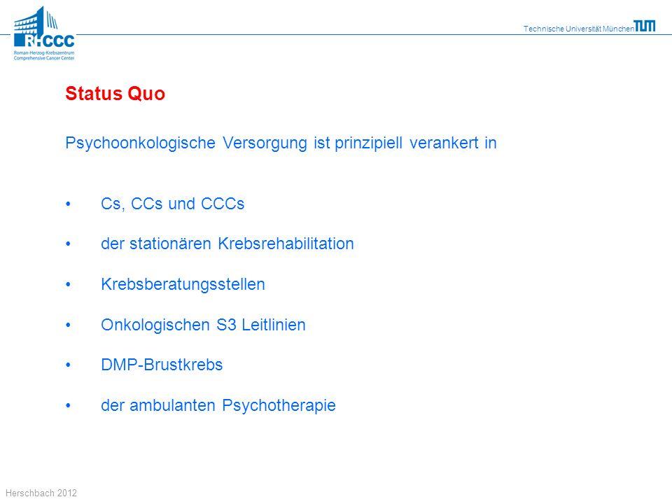 Technische Universität München Herschbach 2012 Status Quo Psychoonkologische Versorgung ist prinzipiell verankert in Cs, CCs und CCCs der stationären