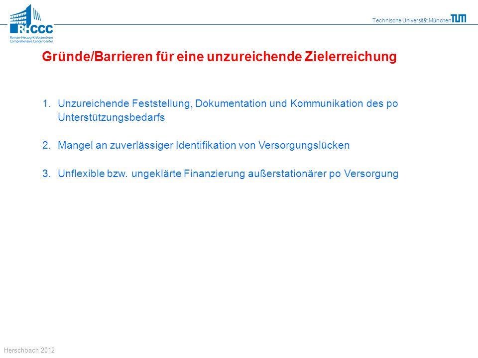 Technische Universität München Herschbach 2012 1. Unzureichende Feststellung, Dokumentation und Kommunikation des po Unterstützungsbedarfs 2.Mangel an