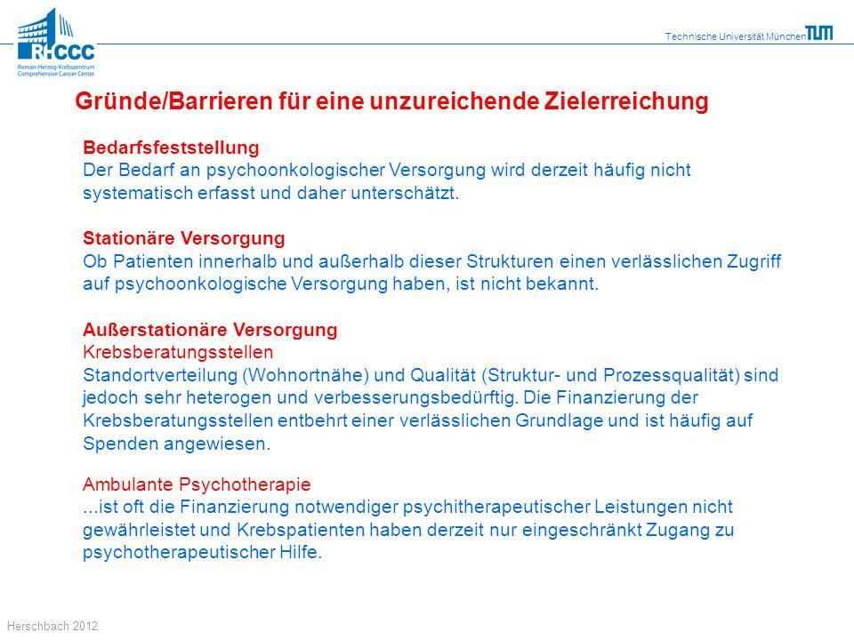 Technische Universität München Herschbach 2012 Bedarfsfeststellung Der Bedarf an psychoonkologischer Versorgung wird derzeit häufig nicht systematisch