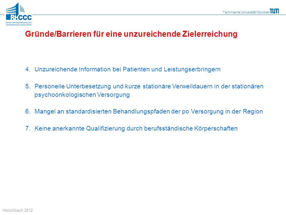 Technische Universität München Herschbach 2012 4. Unzureichende Information bei Patienten und Leistungserbringern 5.Personelle Unterbesetzung und kurz