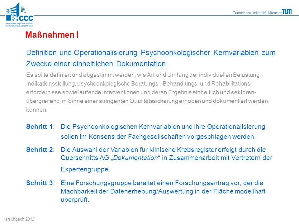 Technische Universität München Herschbach 2012 Definition und Operationalisierung Psychoonkologischer Kernvariablen zum Zwecke einer einheitlichen Dok