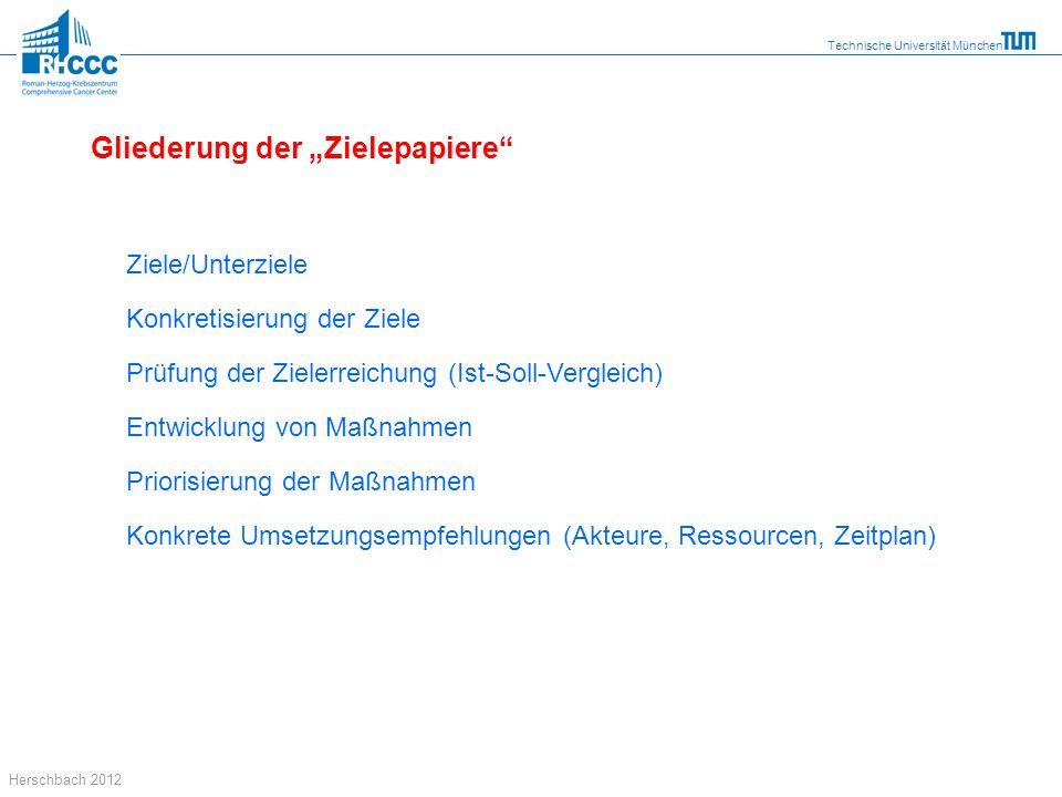 Technische Universität München Herschbach 2012 Gliederung der Zielepapiere Ziele/Unterziele Konkretisierung der Ziele Prüfung der Zielerreichung (Ist-