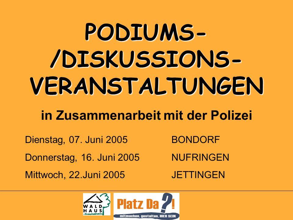 PODIUMS- /DISKUSSIONS- VERANSTALTUNGEN in Zusammenarbeit mit der Polizei Dienstag, 07.