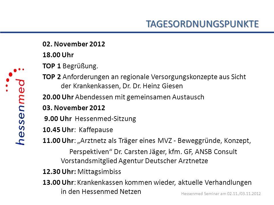 TAGESORDNUNGSPUNKTE 02. November 2012 18.00 Uhr TOP 1 Begrüßung. TOP 2 Anforderungen an regionale Versorgungskonzepte aus Sicht der Krankenkassen, Dr.