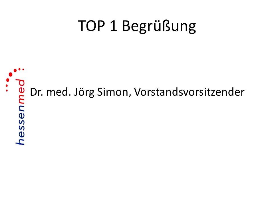 TOP 1 Begrüßung Dr. med. Jörg Simon, Vorstandsvorsitzender