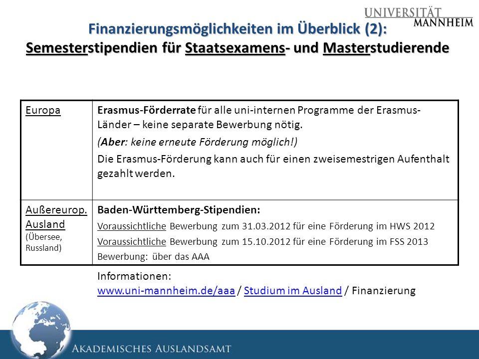 Finanzierungsmöglichkeiten im Überblick (2): Semesterstipendien für Staatsexamens- und Masterstudierende EuropaErasmus-Förderrate für alle uni-interne