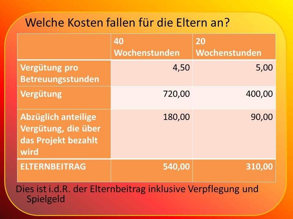 Welche Kosten fallen für die Eltern an? 40 Wochenstunden 20 Wochenstunden Vergütung pro Betreuungsstunden 4,505,00 Vergütung720,00400,00 Abzüglich ant