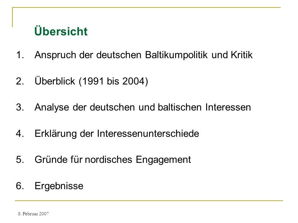8. Februar 2007 Übersicht 1.Anspruch der deutschen Baltikumpolitik und Kritik 2.Überblick (1991 bis 2004) 3.Analyse der deutschen und baltischen Inter